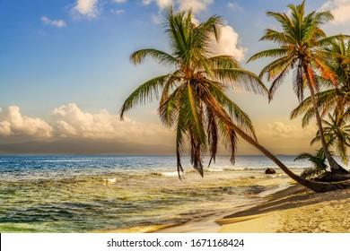 Beautiful lonely beach in Caribbean San Blas island at politically autonomous Guna territory in Panama. Turquoise tropical Sea, landmark travel destination in Central America