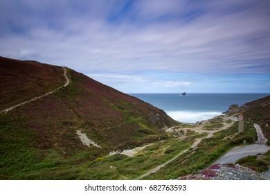 Beautiful Long Exposure of Cornish Coastal Path at Trevallas Coombe, UK