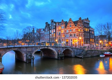 Beautiful long exposure HDR image of the Brouwersgracht in Amsterdam, the Netherlands, a UNESCO world heritage site.