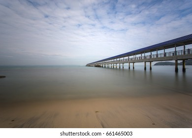 A Beautiful long exposure picture of a jetty. Image contain certain grain or noise and soft focus when view at full resolution