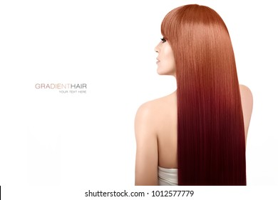 Beautiful long gradient hair. Beauty model with gorgeous long geode hair, an iridescent color technique based on jewels and crystals, isolated on white with copy space. Hair coloring techniques