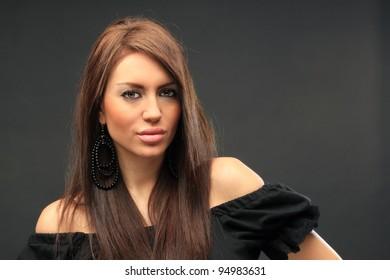beautiful long hair brunette woman portrait, studio shot
