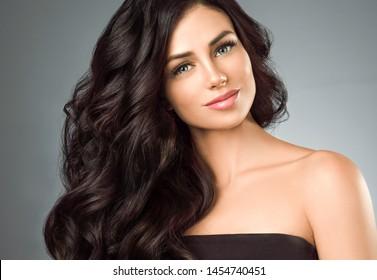Beautiful long hair woman black hair