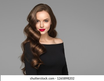 Beautiful long hair woman brunette hairstyle red lips hollywood waves
