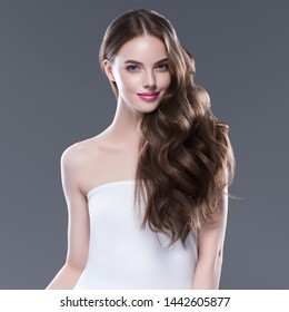Beautiful long hair woman healthy strong hairstyle beautiful makeup young happy female model