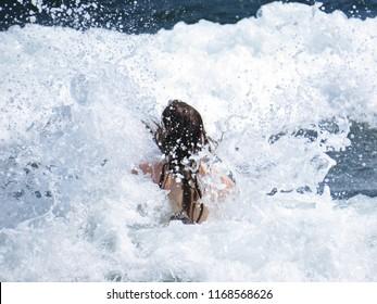 Beautiful Long Hair Woman Walking in the Water Ocean Sea Waves Splashing