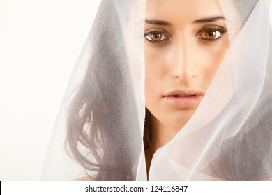 Beautiful Long Haired Model Covered By Veil