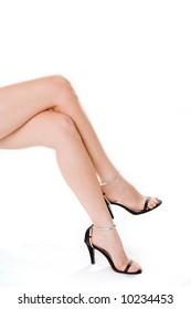 beautiful long legs of the woman in high heels