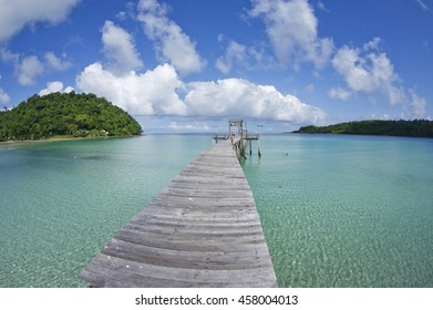 beautiful long wooden bridge tropical island beach - Koh Kood, Trat Thailand