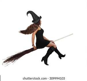 Beautiful long-haired witch flying on a broomstick