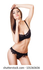 beautiful long-haired woman in black lingerie
