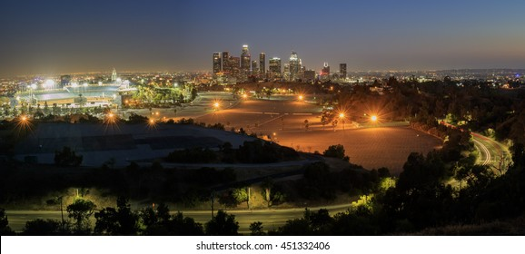 Beautiful Los Angeles downtown nightscape seen from Elysian Park