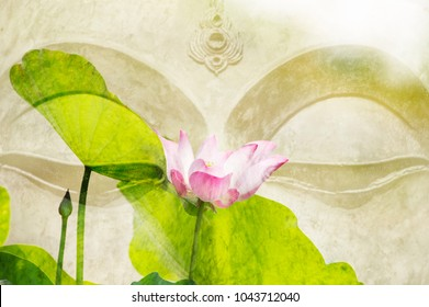 Beautiful of lotus flower and buddha image put together look like art . On the face of buddha has a little smiley. Buddhism in Thailand is popular. The  culture of Thailand involved buddha.