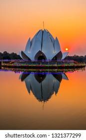 Beautiful lotus pagoda in sunset.