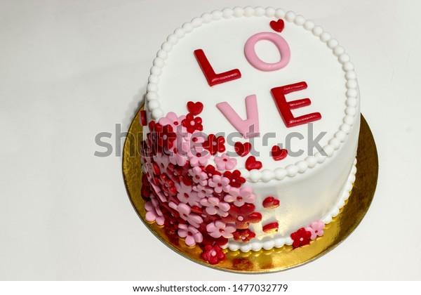 Astounding Beautiful Love Cake Fondant Cake On Stock Photo Edit Now 1477032779 Funny Birthday Cards Online Elaedamsfinfo