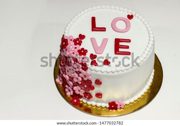 Phenomenal Beautiful Love Cake Fondant Cake On Stock Photo Edit Now 1477032782 Funny Birthday Cards Online Elaedamsfinfo