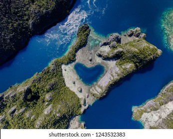 "A beautiful ""love"" lagoon of Missol in Raja Ampat, Indonesia."