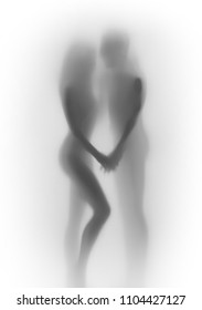 Beautiful lover couple body silhouette together, behind a diffuse surface