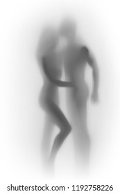Beautiful lover couple, sexy woman and a male human body silhouette together.