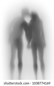 Beautiful lover couple together, body silhouette from behind. Hold each others hand, kiss.