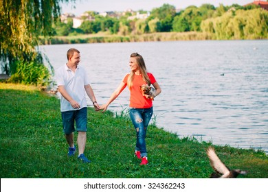 Beautiful loving couple going for a walk outdoors