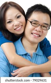 Beautiful Loving Couple on white background
