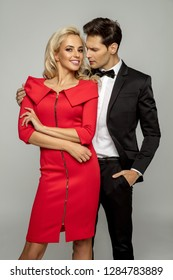 Beautiful loving couple wearing evening outfit