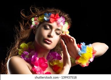Beautiful Luau Party Girl. Hula Dance. Flying Hair