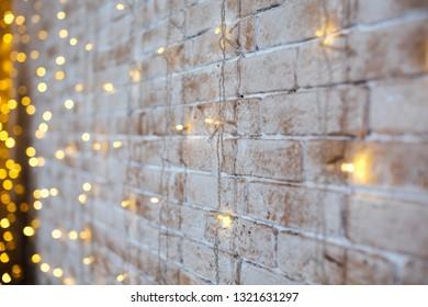 beautiful luminous garland on the wall