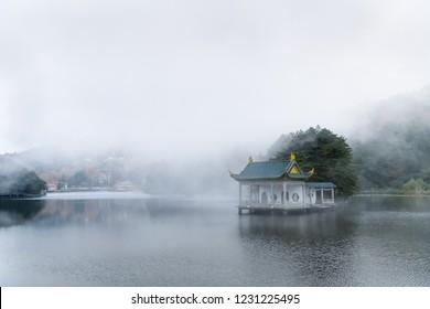 beautiful lushan landscape, clouds and fog on the lake,  jiangxi province, China