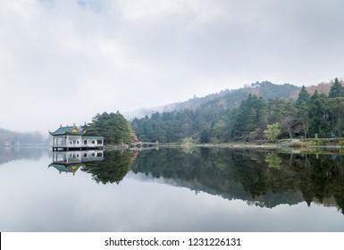 beautiful lushan landscape of traditional pavilion on the lake, jiangxi province, China