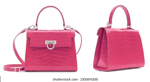 Beautiful luxurious bright pink crocodile leather handbag set, three quarter view and back view, with shadow on white background