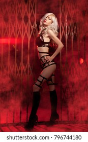 beautiful luxurious fashion blonde model stands in elegant black lingerie and a leather harness in red smoke