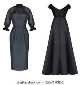 Beautiful luxurious fashion set, black dress without sleeves and with a corset and midi with long sleeves, ghost mannequin, clipping path, front  view, isolated on white background