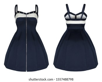 Beautiful luxurious fashion set, blue and white dress with shoulder straps, with a full skirt and a corset, ghost mannequin, clipping path, front and back views, isolated on white background