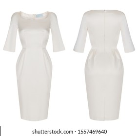 Beautiful luxurious fashion set, white classic tight-fitting dress with long sleeves, ghost mannequin, clipping path, front and back view, isolated on white background