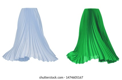 Beautiful luxurious female set, long bright blue and green pleated skirt, Fabric Cloth Waving On Wind, clipping, ghost mannequin, isolated on white background, front view