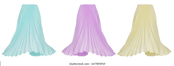 Beautiful luxurious female set, long bright blue, pink and yellow pleated skirt, Fabric Cloth Waving On Wind, clipping, ghost mannequin, isolated on white background, front view