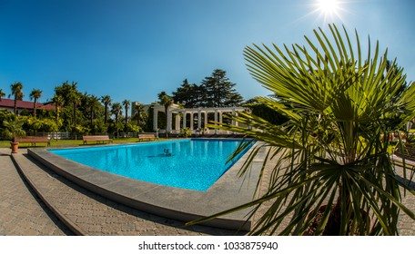 beautiful luxury blue pool outdoor, horizontal photo