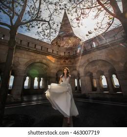 Beautiful luxury bride in the old castle