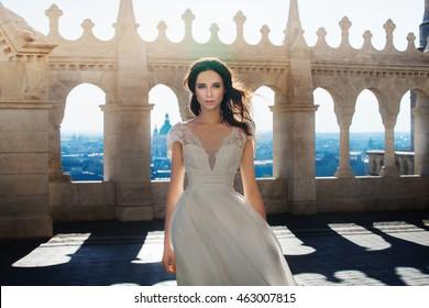 Beautiful luxury bride outside
