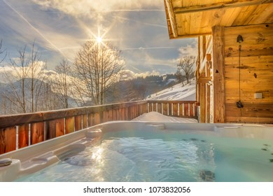Beautiful luxury chalet in French Alps in the winter with Jacuzzi.
