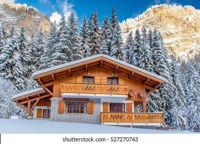 Beautiful luxury chalet in French Alps in the winter