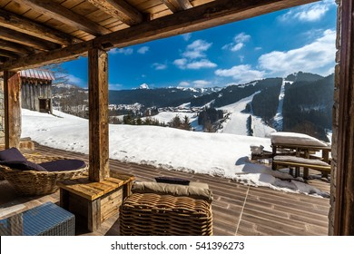 Beautiful luxury chalet in French Alps in the winter with stunning views.