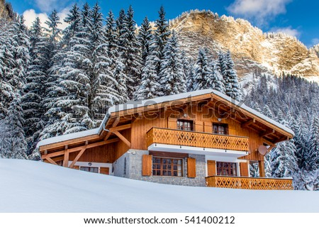 Beautiful luxury chalet in French Alps in the winter.