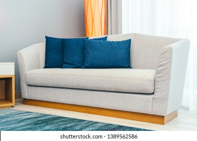 Beautiful luxury comfortable pillow on sofa furniture decoration interior of room