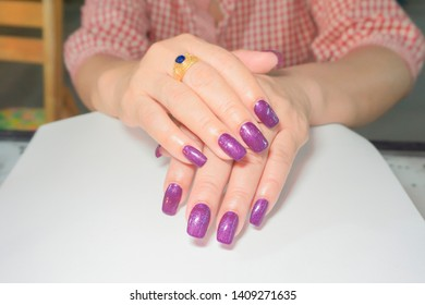 beautiful and luxury dark purple gel nail art on fahionista woman  square shape acrylic extension fingernail
