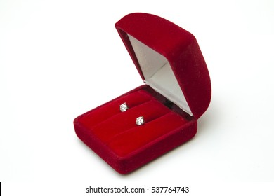 beautiful and luxury diamond necklace jewely with ring ,ear rings set in red box on white background