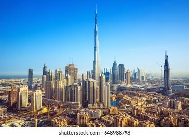 Beautiful luxury Dubai downtown at the sunrise,Dubai,United Arab Emirates