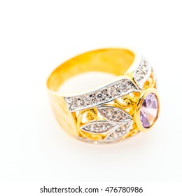 Beautiful luxury gold ring with jewelry diamond isolated on white background